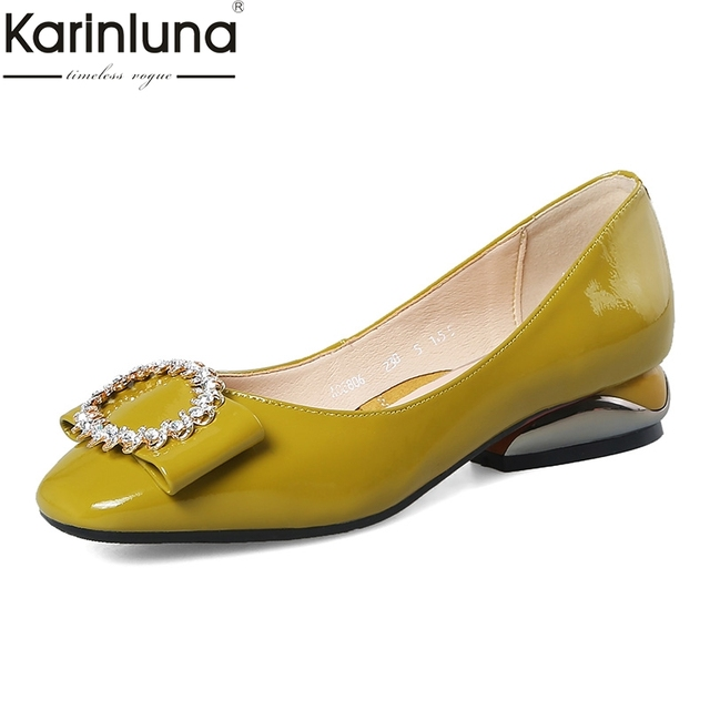 Karinluna Office Lady Comfortable Patent Leather Woman Shoes Sexy Square Toe Elegant Chunky Heels Shoes Women Footwear