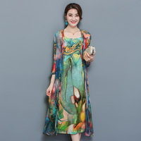 Large Size 3XL 4XL Women 2 Piece Set Women Autumn Natioanl Print Sling Dress Open Stitch