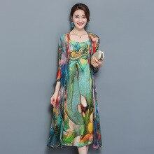 Большой Размеры 3XL 4XL Для женщин комплект из 2 частей Для женщин осень natioanl печати Слинг платье + Открыть стежка кардиган костюм элегантный шифон Vestido
