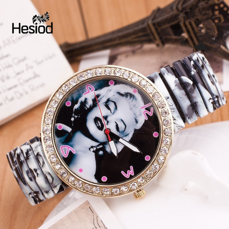 Hesiod Unique Super Star Marilyn Monroe Print Female Watch Elastic Strap Crystal Watches For Women Relogio Feminino