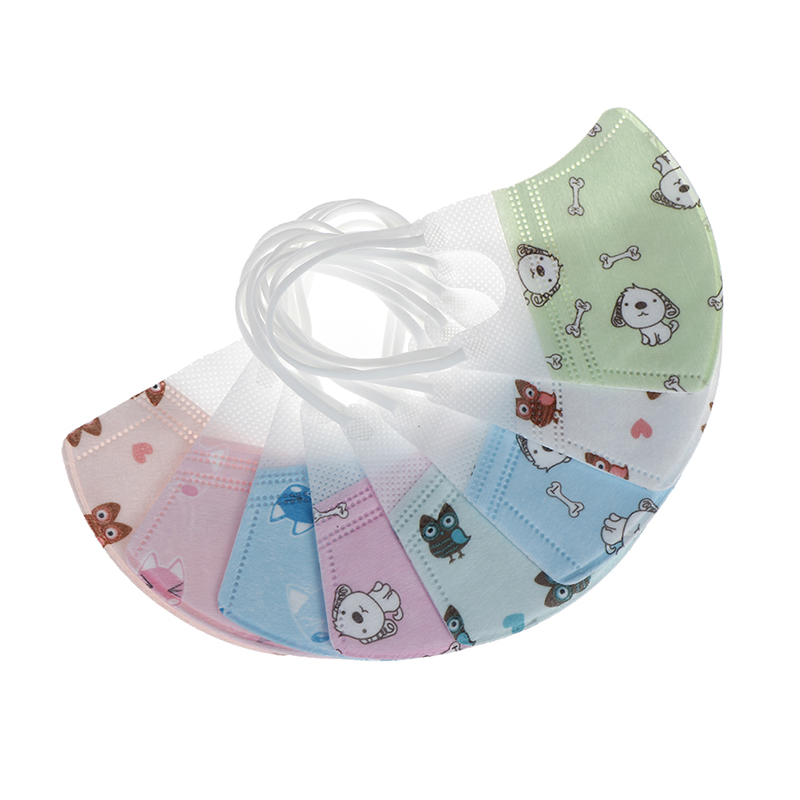 Girls Boys Disposable Mouth Masks Cartoon Children Masks Kids Anti-dust Mask
