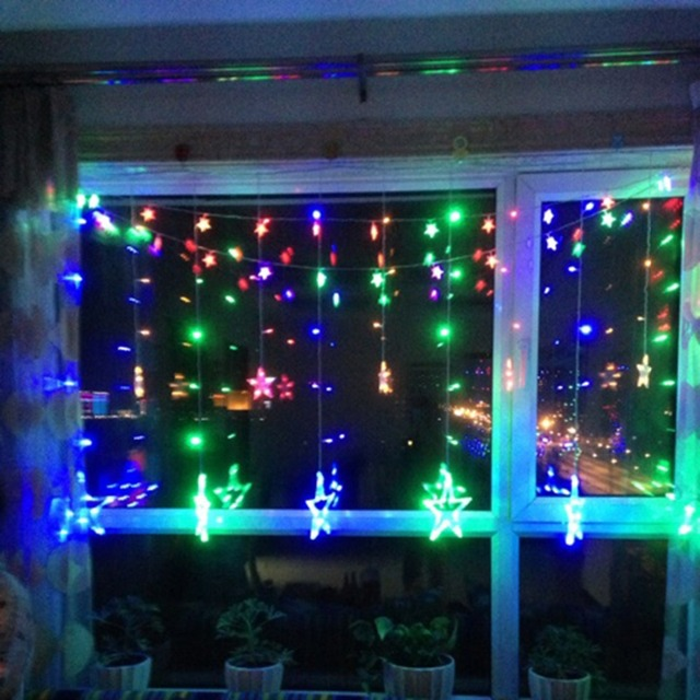 fashion five pointed star multi color led curtain fairy string lights for window light