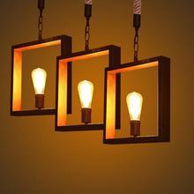 Más Arte Deco Vintage E27 colgante de luz de lámpara LED cubo de metal de la jaula de la lámpara luz colgante luz lámpara para ktv/ bart arte luces