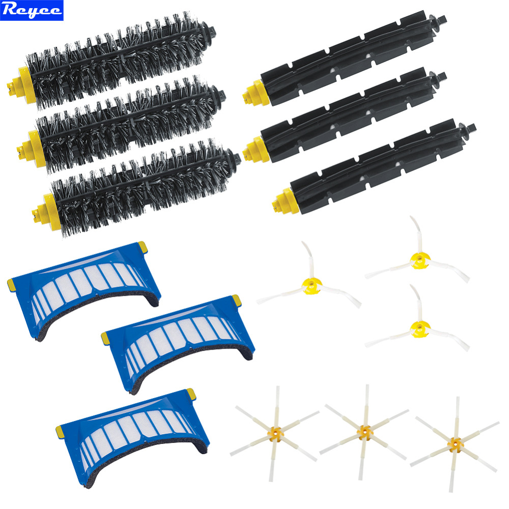 3/6 Brush & Bristle Brushes 6-Armed Side Brushes AeroVac Filter Kit for iRobot Roomba 600 Series 620 630 650 660 670 ld7530pl ld7530 sot23 6