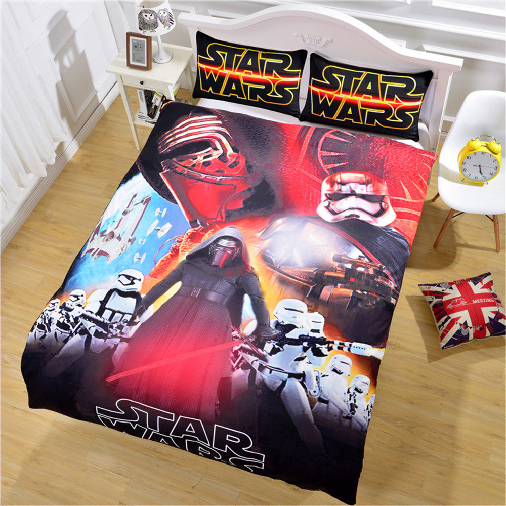 Unique Star War 3pcs Beding 3D Duvet Cover Set Queen Size, literie