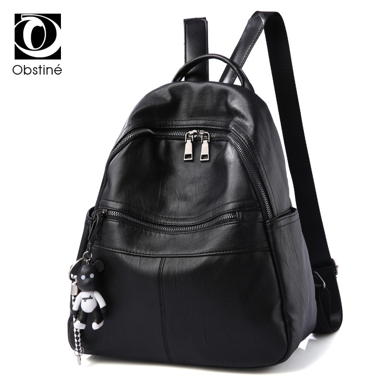 High Quality PU Leather Women Backpack Zipper Travel Backpack Female Schoolbag Black Backpack for Girls Preppy