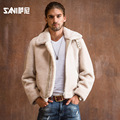 Sani new winter coat male fur leather jacket Leather leather men Sheep Shearing overcoat casual short paragraph