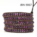 Purple Natural Stone Beads Beaded Leather Wrap Bracelet 5 Strands