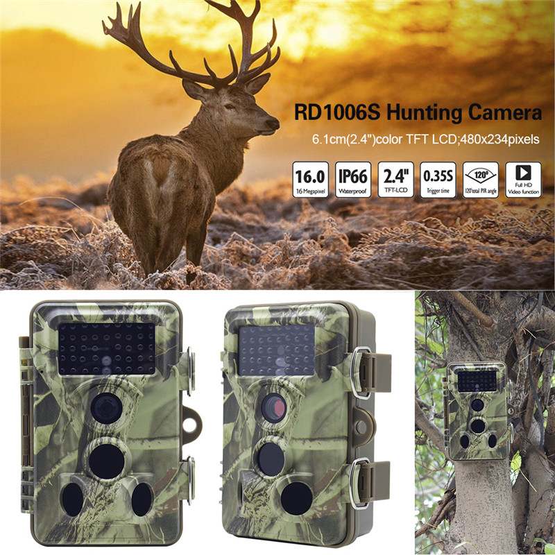 RD1006S Outdoor Hunting Trail Camera HD 12MP 1080P Wildlife Game Camera 3PIR Lnfrared For Wildlife Monitoring ht 002a wildlife hunting camera