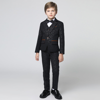 Children boys tuxedo set 5 piece set boy suits formal boy small suit jacket birthday party flower girl dress kids formal suits