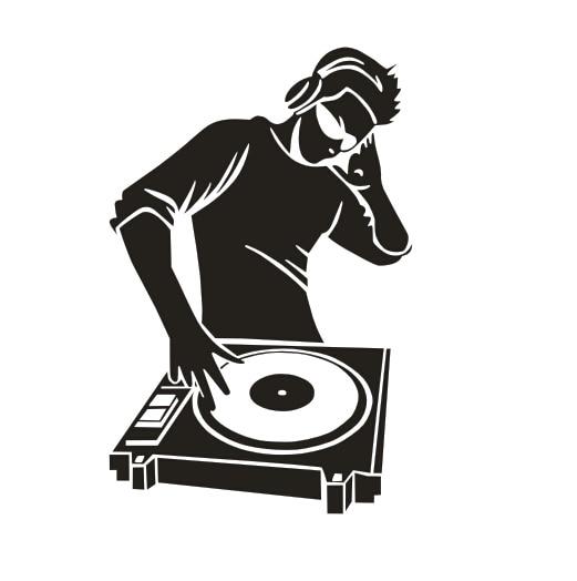 Music vinyl wall decal dj boy play cd musical mural art for House music vinyl