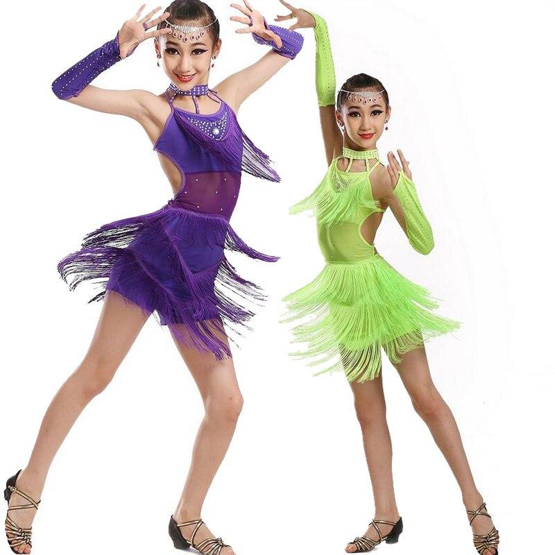 0c41dff22 Girls Tassels equined Latin Salsa Dancing Dress Kids Ballroom ...