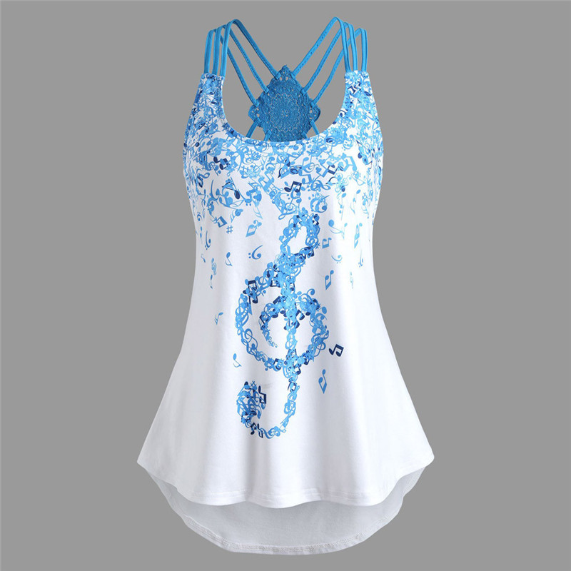 Dropship Women Tops And Blouse 2018 Bandages Sleeveless Vest Top Musical Notes Print Strappy Tank Tops Jun2118 Matching In Colour