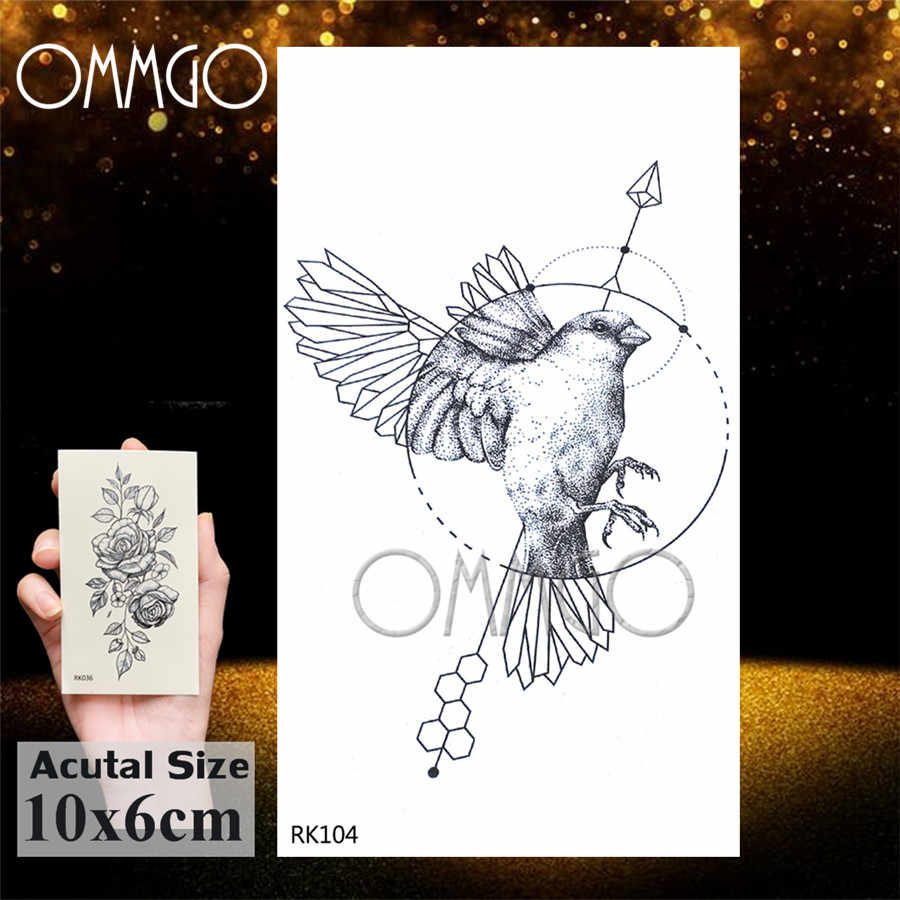 OMMGO Geometric Hummingbird Temporary Circle Round Tattoo Sticker Leaf Pigeon Arrow Tattoo Body Art Black Fake Birds Tatoo Paper