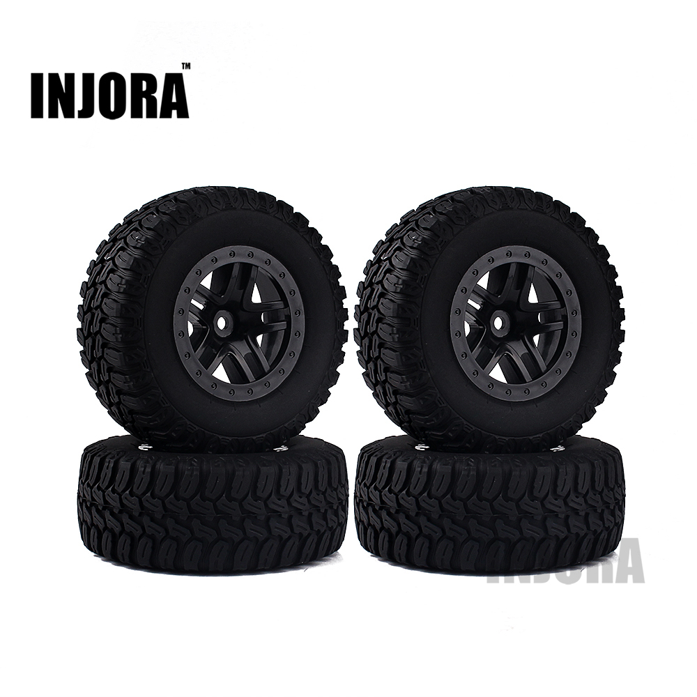 INJORA 4PCS Wheel Rim & Tires Set for 1/10 RC Short-Course Truck Traxxas Slash HPI RC Model Car injora 4pcs short course truck rubber tire