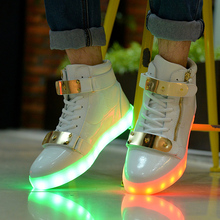 New Men&Womens 7 Colorful Led casual Shoes High Tops Leisure Simulation Party Chaussure Femme Usb Con Luz Lights fashion schoen