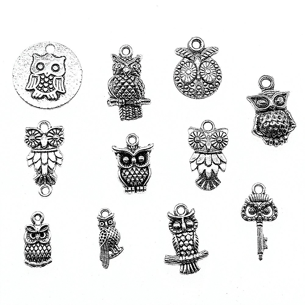 15pcs Owl Charm Making Jewelry Pendants For Bracelets Small Owl Charm Silver Color Owl Charm