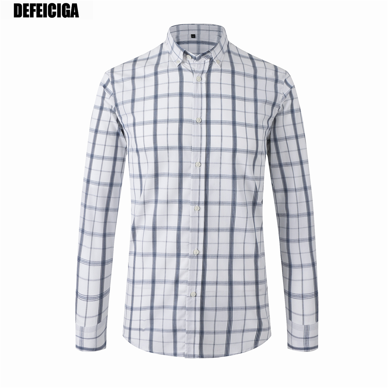 2019 DEFEICIGA Causal Social Formal Shirt Men Long Sleeve plaid Business Office Male Cotton Mens Dress shirts 015