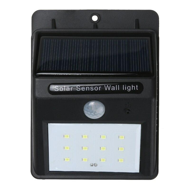 12 LED Solar Power PIR Motion Sensor Wall Light Waterproof Garden Lamp Night Light Outdoor Path Wall Lamp Security Lighting