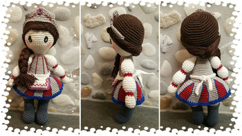 crochet toys  amigurumi  doll Russia style girl   model number  LS0051