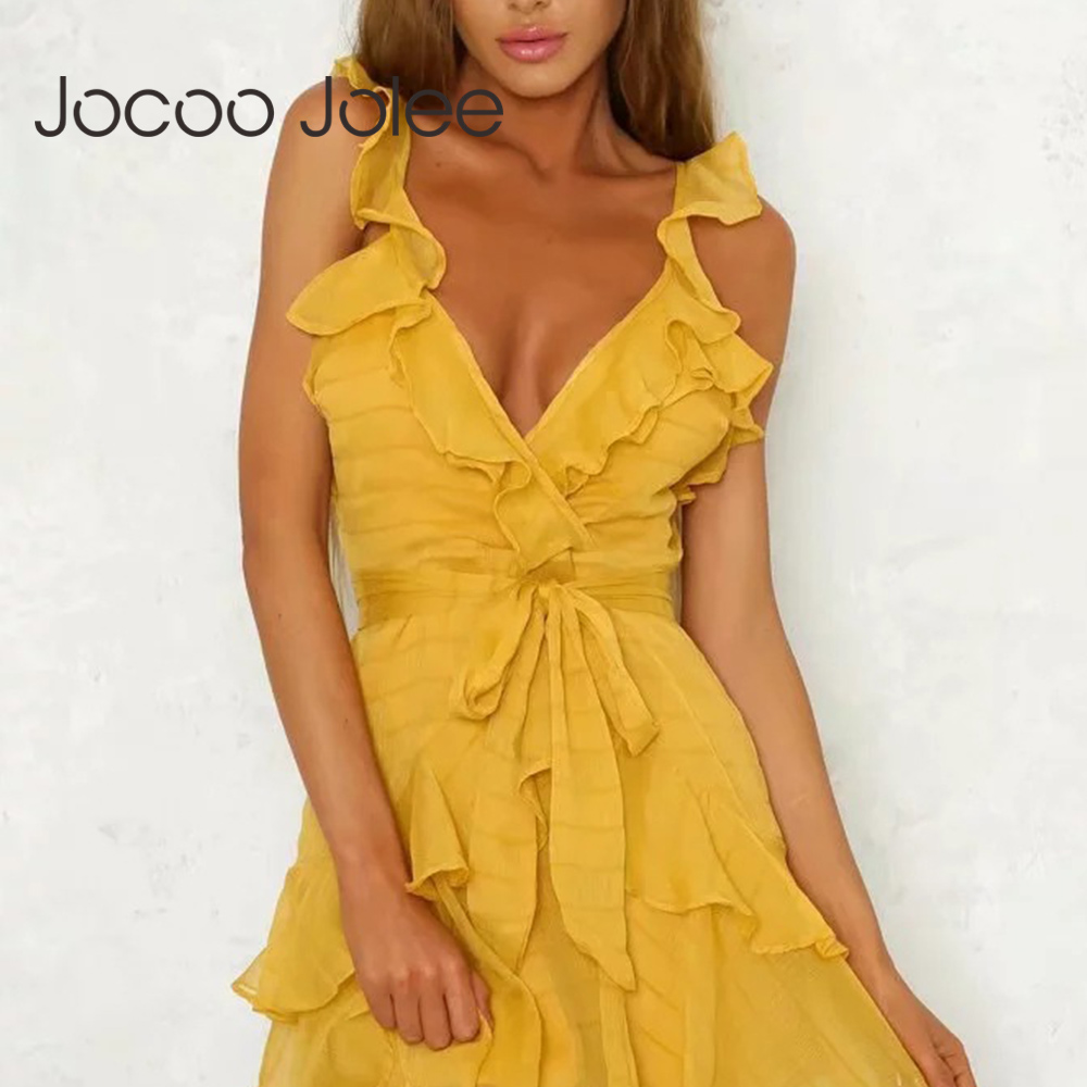 Jocoo Jolee <font><b>Deep</b></font> <font><b>V</b></font> Neck Yellow <font><b>Sexy</b></font> <font><b>Dress</b></font> Ruffle Bow Women Elegant <font><b>Dress</b></font> Green Solid Casual Bohemian Beach <font><b>Dress</b></font> Vestidos image