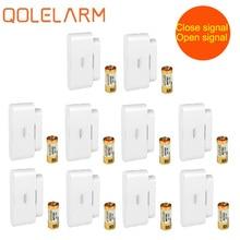 Qolelarm detector magnético inalámbrico para puerta ventana, 2 señales, 10 unids/lote, 433mhz, sensor de alarma con antena incorporada