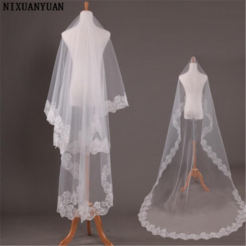 2020 Lace Edge Long Veil Wedding Champagne Bridal Veils 3 Meters White Cathedral Wedding Veil Cheap Voile De Marie