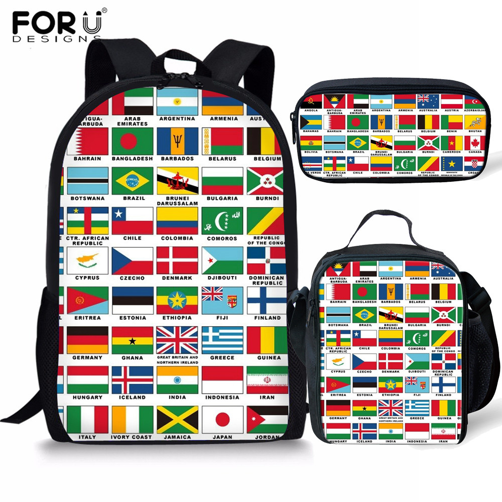 FORUDESIGNS 3pcs/set World National Flag School Bags For Girls Backpack Schoolbag In Primary Students Children Book Bag Mochilas
