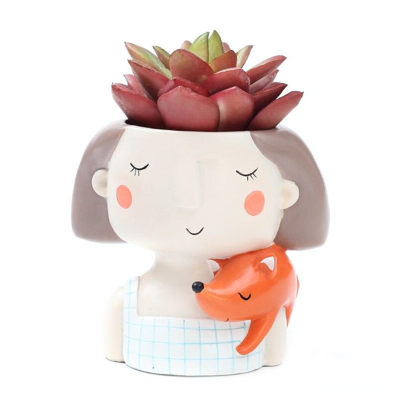 Image 4 - Roogo 4item Succulent Plant Pot Cute Girl Flower Planter Flowerpot Creat Design Home Garden Bonsai Pots Birthday Gift Ideas-in Flower Pots & Planters from Home & Garden