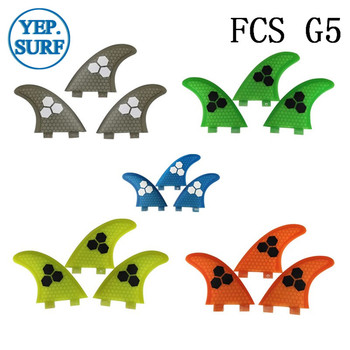 FCS Surfboard Fin G5 Honeycomb Fibreglass Surf Tri Quilhas