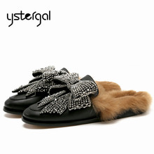 Ystergal Fashion Women Fur Slippers Winter Warm Flat Shoes Woman Rhinestone Bow Tie Mules Shoes Female Loafers Chaussures Femme