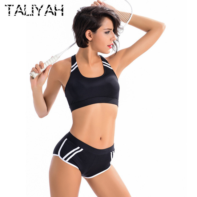 0c5f2d6aef Body Suit Swimwear Women Two Piece Halter Top Bikini Sets Athletic Sport  Swimsuit Patchwork Black Workout bikini Swimwear 2019