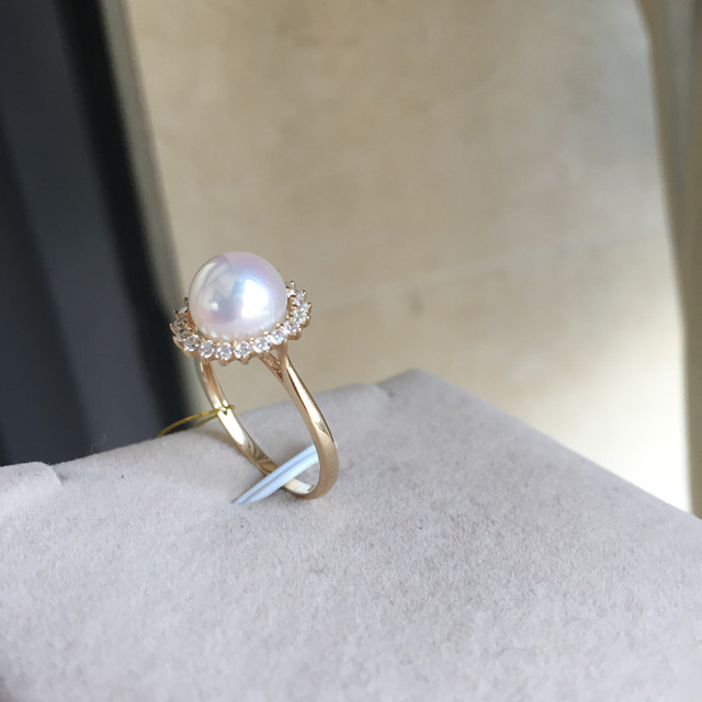Women Gift Word 925 Sterling Silver Real Permanent Natural Akoya Sea Water Pearl Ring Drilled