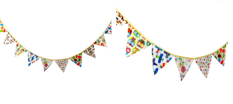 2 set 33m 12pc spring animal owl wheel cartoon bunting banner cotton cloth hanging party triangle flags decoration photo props - Decorative Flags