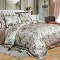 De Lujo jacquard satén de algodón de seda/rey/tamaño de la Reina ropa de cama 4 piezas edredón/edredón 100% algodón colcha y funda de almohada