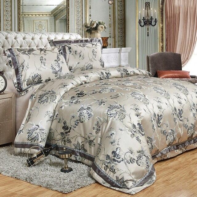 Luxury jacquard satin cotton/silk King/Queen Size bedding set 4pcs Duvet/Quilt cover 100% cotton bedspread and pillowcase set