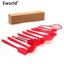Eworld 10pcs/set Silicone Kitchen Cooking Tool Sets Utensils Heat Resistant Baking BBQ Accessaries Tool Set Spatula Spoon Ladle.