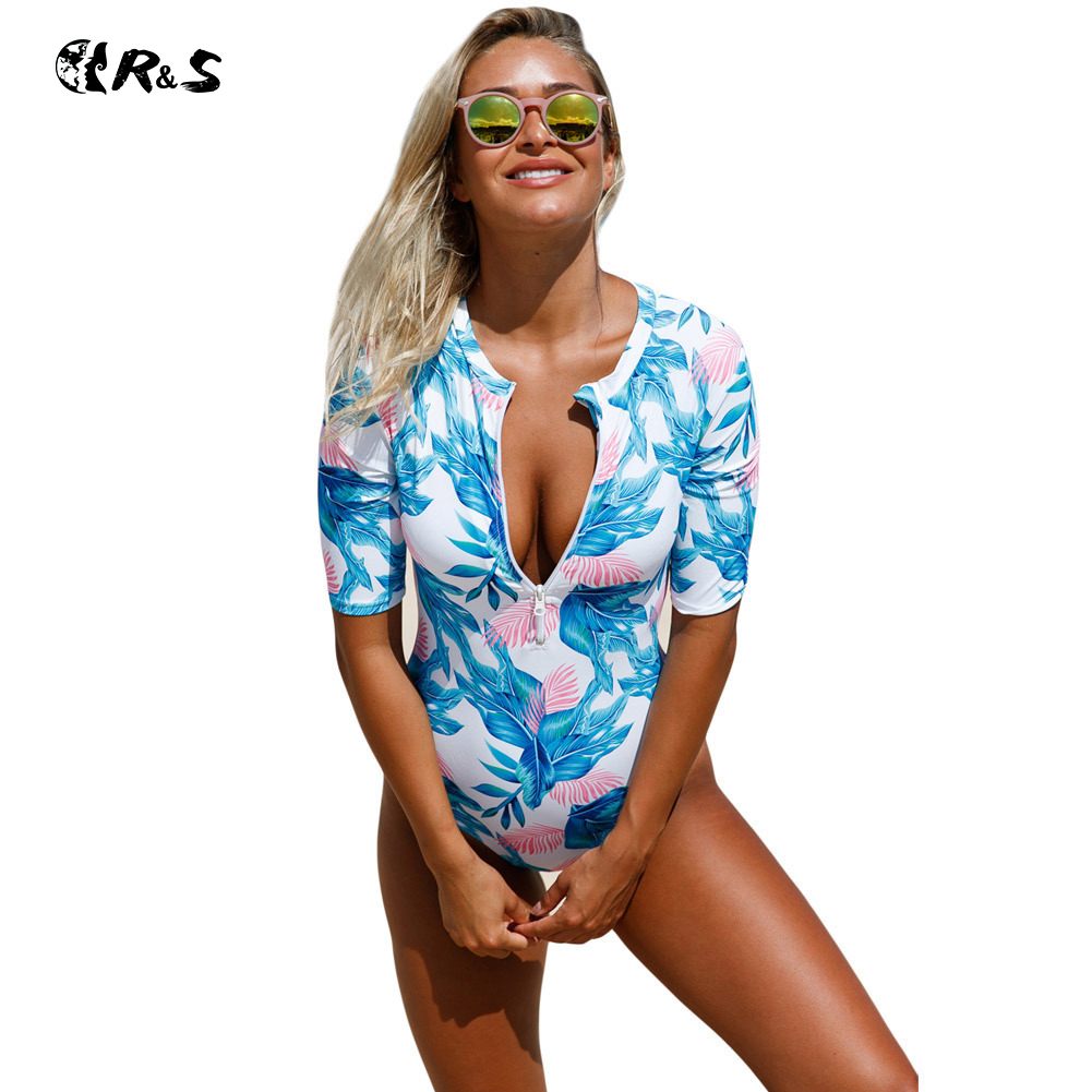 Women's Swimming Suit Polyester Printing Floral Swimwear Round Neck Short Sleeve Bathing Wear One Piece Large Size Swimsuit XXL short sleeve plus size floral blouse