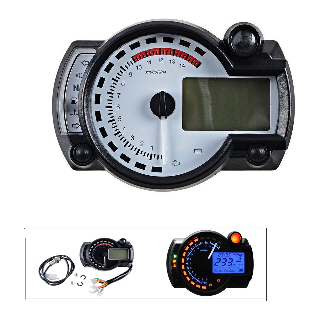 15000 rpm Motorcycle Digital Speedometer Tachometer Odometer Adjustable Motorcycle Speed Meter with Backlight LCD Indicator