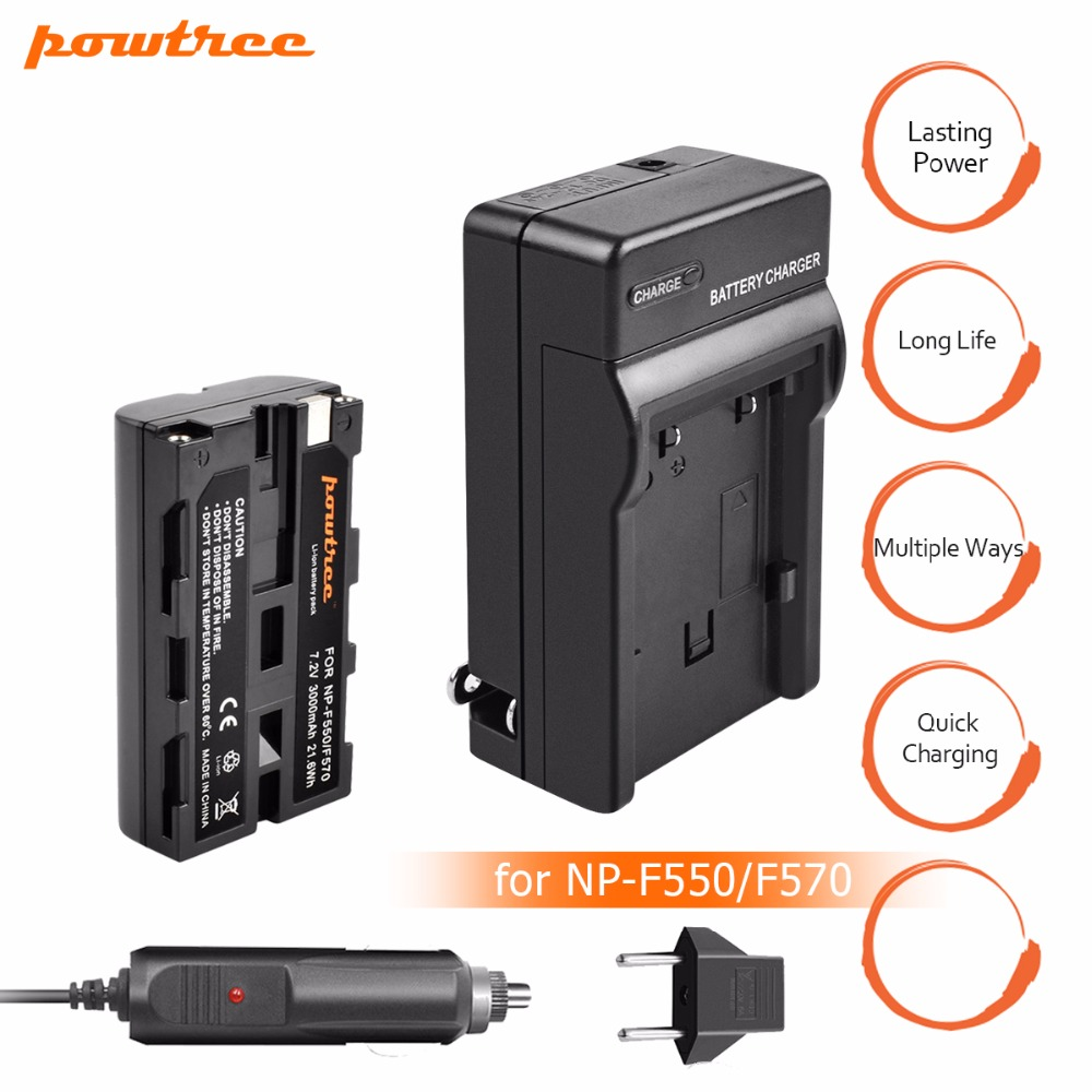 1Packs 7.2V 3000mAh Li-ion NP-F550 NP-F330 NP F550 F330 Rechargeable Battery+Charger Car charger camera Battery For Sony L10
