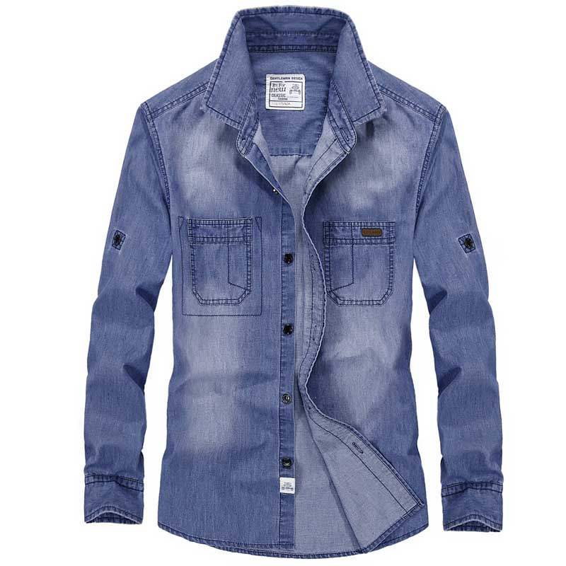 New Fashion Military Style Denim Shirt Men Casual Shirt Long Sleeve Big Size 4XL Cotton Jeans Vacation Shirts Male Clothes