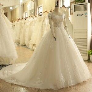 Image 3 - SL 9012 Vintage Weg Von der Schulter Hochzeit Kleid Lace Up Zurück Applique Braut Ballkleider 2018