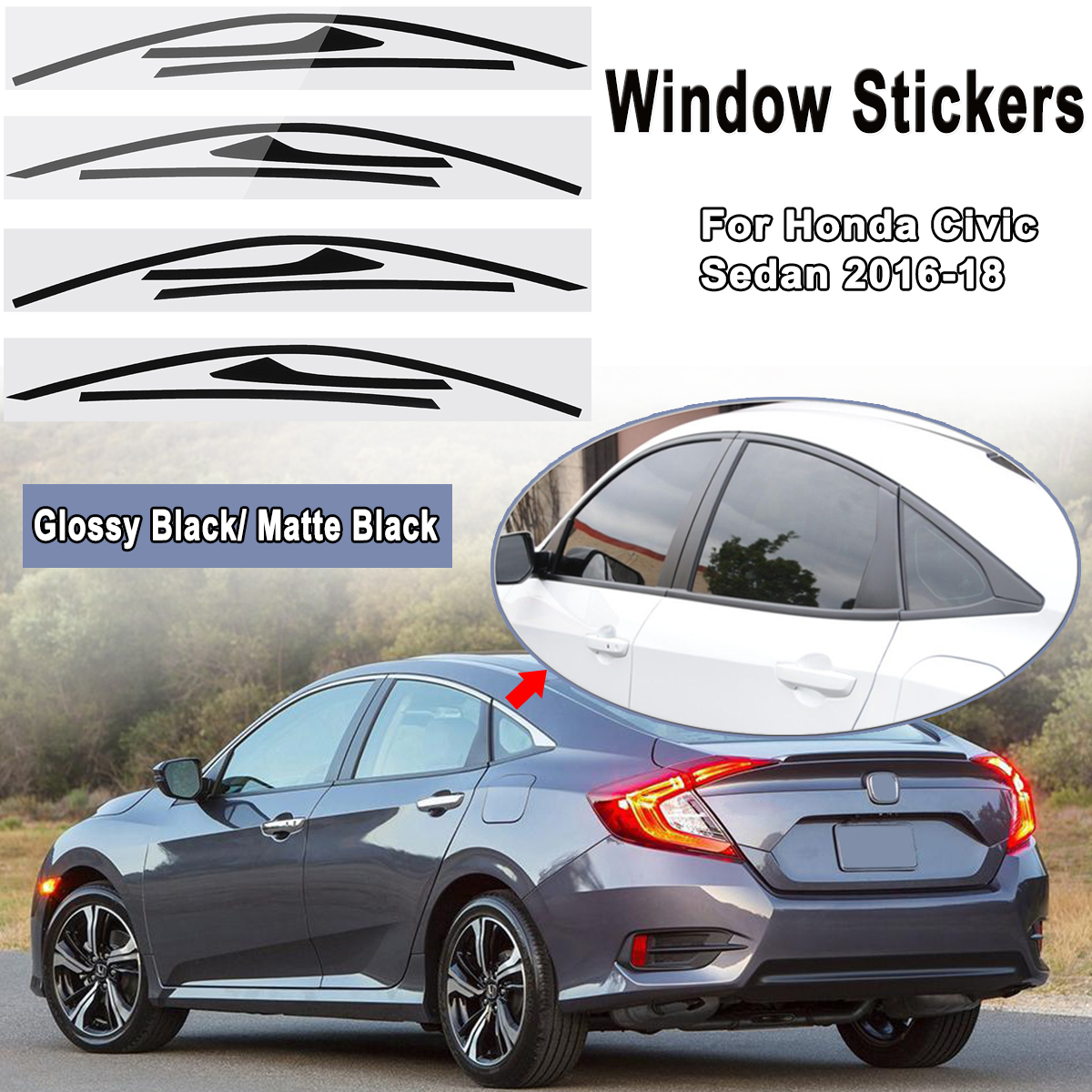 Black Gloss Molding Front fog Cover Trim for Honda Accord Sedan 2016 2017 2018