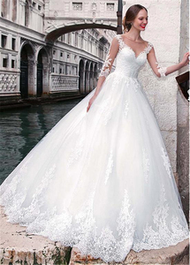 Image 5 - Chic Tulle Jewel Neckline A line Wedding Dress With Lace Appliques 3/4 Sleeves Bridal Gowns Illusion Back robe de mariee