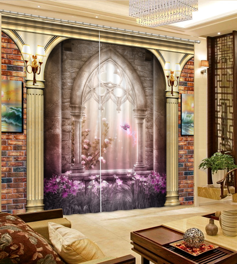 Us 48 0 60 Off Custom Made Curtains European Decoration Roman Column Living Room Or Hotel Cortians Window Blackout Curtains In Curtains From Home