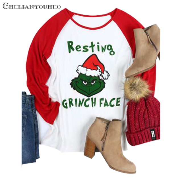 Christmas Grinch Shirt For Women Print Resting Grinch Face lomg Sleeve Funny Baseball Shirts Casual Cute Female T Shirt Top