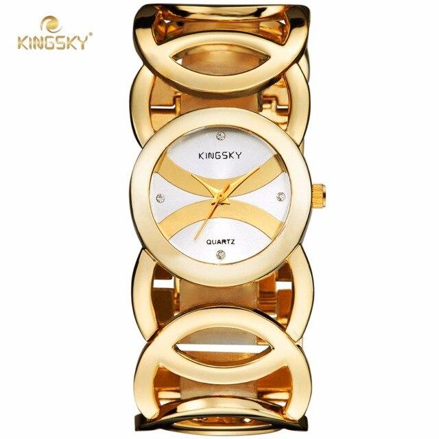 Kingsky 3809# Luxury Women Watch Famous Brands Gold Fashion Design Bracelet Watches Ladies Dress Wristwatch
