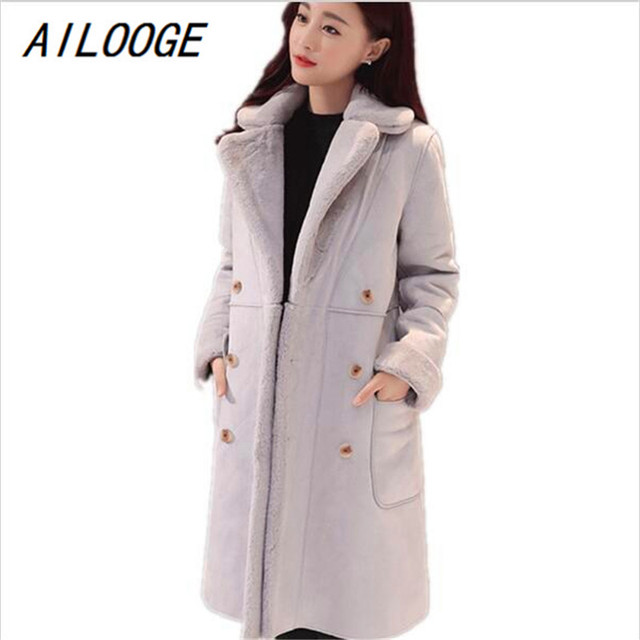 6fcd0d7fc70 US $70.0 |AILOOGE 2017 Winter Women Lamb Fur Coat Thickened Suede In The  Long Wool Coat Warm Outer Layer Thickening Cold Resistane Outwear-in  Leather ...