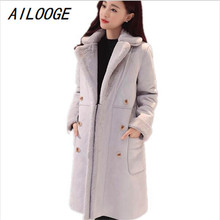 AILOOGE 2017 Winter Women Lamb Fur Coat Thickened Suede In The Long Wool Coat Warm Outer Layer Thickening Cold Resistane Outwear