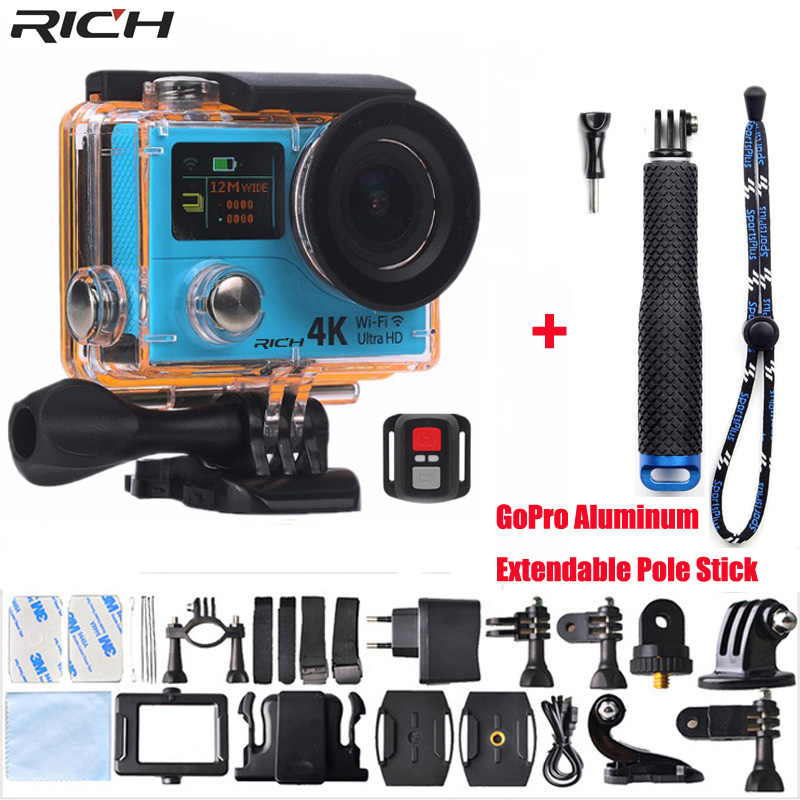Action Camera H3 Ultra HD 4K Wifi 1080P Double Screen H3R Remote control Waterproof Sport Camera+Aluminum Extendable Pole Stick action camera h3 4k ultra hd wifi 1080p go sj pro style with h3r remote control waterproof dual screen sport camera